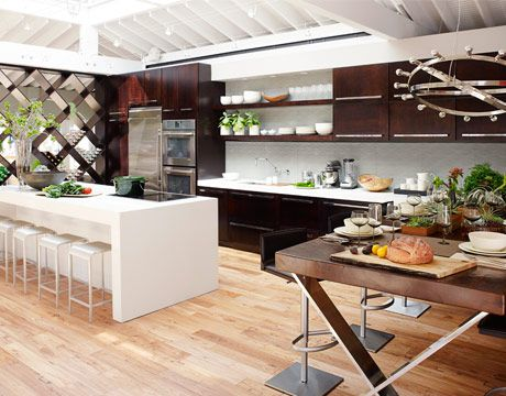 Love the dark but not Java colored wood in a contemporary kitchen!