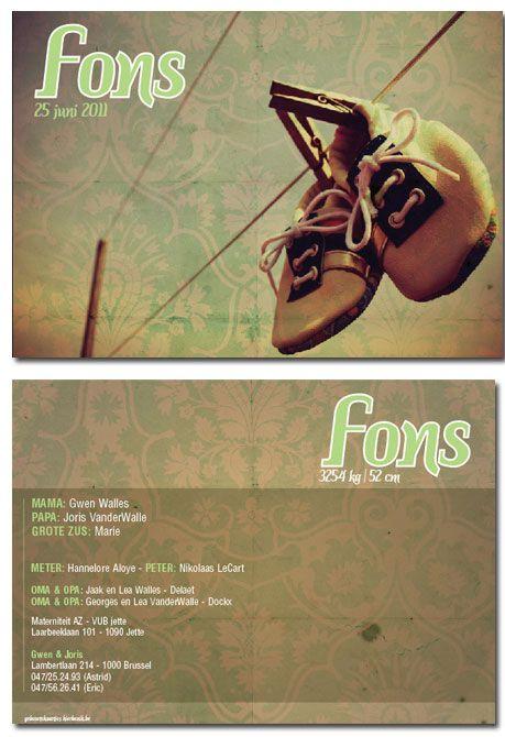 geboortekaartjes Jongens : geboortekaartje Fons | Originele geboortekaartjes van Hierbenik