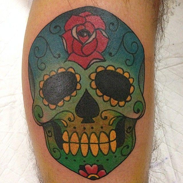 Skull Tattoo brett Eberhard at LDF Tattoo Newtown, Sydney, NSW. #tattoo #sydneytattoo #skulltattoo #ldftattoo #rosetattoo #dayofthedeadtattoo #mexicantattoo