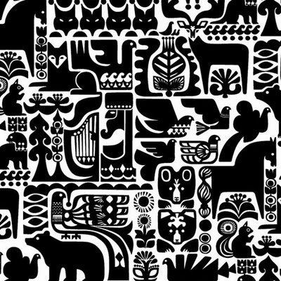 marimekko  - with a black and white print you can include so much detail without it becoming messy!