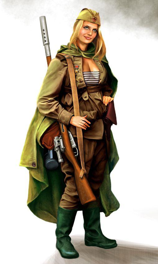 Soviet female sniper by ~anderpeich on deviantART