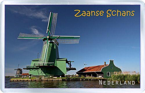 $3.29 - Acrylic Fridge Magnet: Netherlands. Windmills. Zaanse Schans