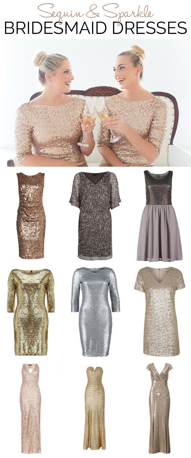 Sequin & Sparkle Bridesmaid Dresses // Pinned by Dauphine Magazine, curated by Castlefield (wedding invitation, branding, pattern designs: www.castlefield.co). International Couture Fashion/Luxury Wedding Crossover Magazine - Issue 2 now on newsstands! www.dauphinemagazine.com. Instagram: @ dauphinemagazine / @ castlefieldco. Dauphine and Castlefield only claim credit for own images. Top image credit: Veronique Photography
