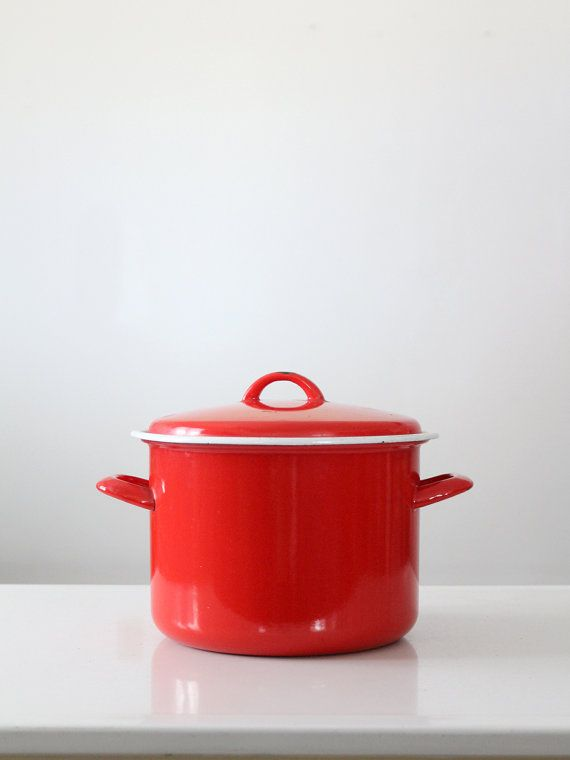 red enamel pot vintage enamelware stock pot by 86home on Etsy