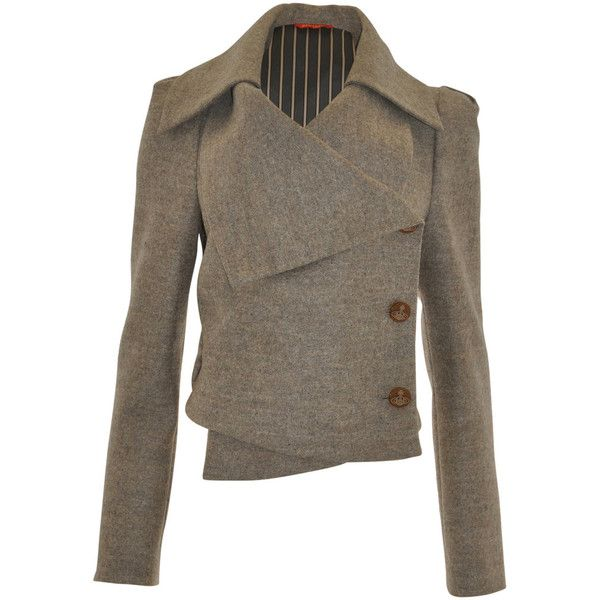 Beige Three Button Felt Jacket, Red Label by Vivienne Westwood, size: 14 found on Polyvore