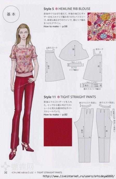 Hemline Rib Blouse & Tight Straight Pants
