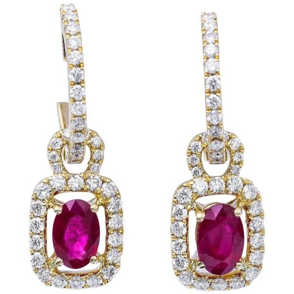 Preowned Burmese Ruby And Diamonds Dangle Hoop Earrings (€1.670) ❤ liked on Polyvore featuring jewelry, earrings, dangle earrings, multiple, ruby jewelry, yellow diamond earrings, hoop earrings, ruby hoop earrings and dangle hoop earrings