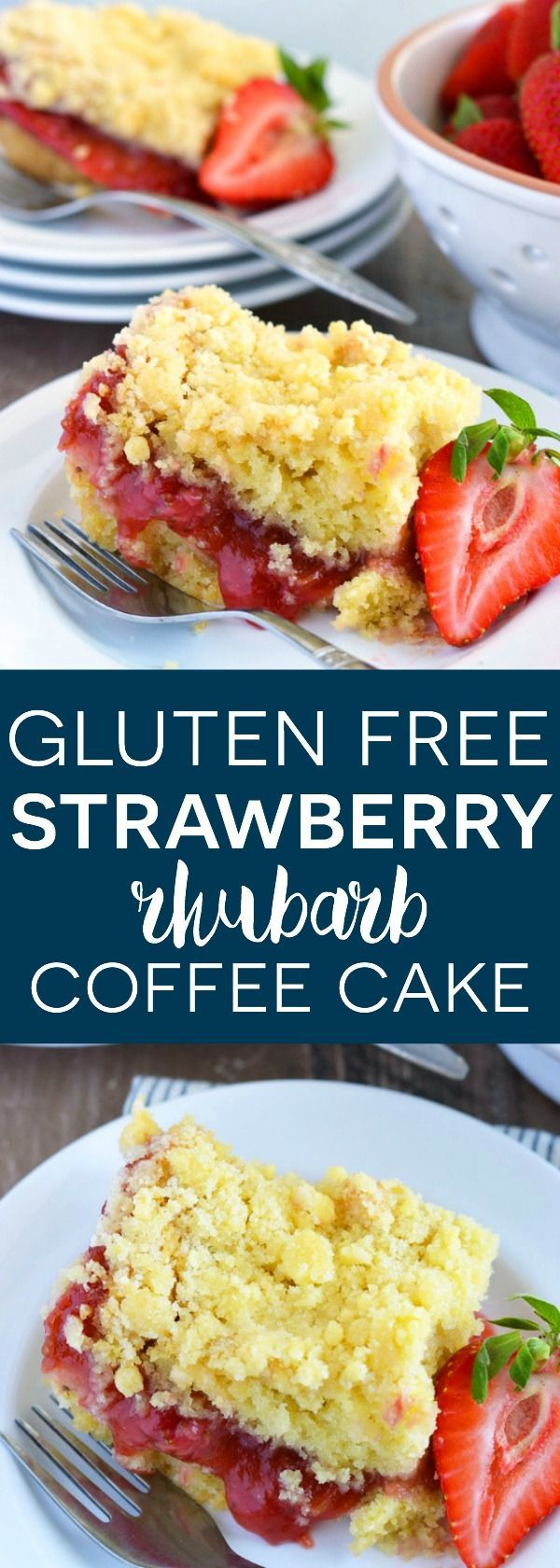 Gluten Free and Dairy Free Strawberry Rhubarb Coffee Cake from What The Fork Food Blog
