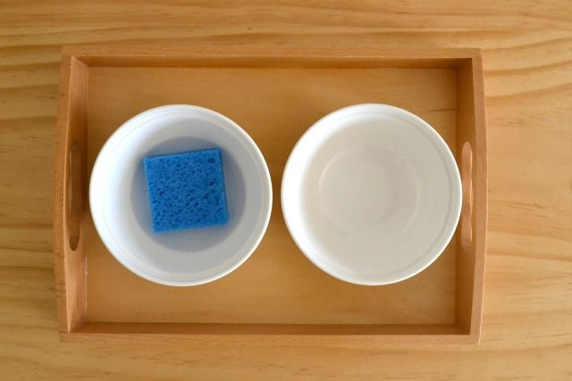 Montessori sponging activity from How We Montessori (this may be my new favorite blog!)