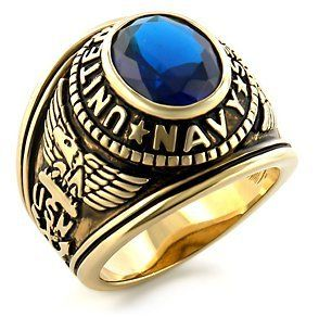 Amazon.com: US Navy Ring - (Gold Plated w/ Blue Stone) 19.5mm thick - U.S. Navy Seals Uniform Veteran Ring with flag decal emblem design | #supportourtroops #USA #vets #army #usmc #thankyou #independence #4thofjuly #gifts #USNA
