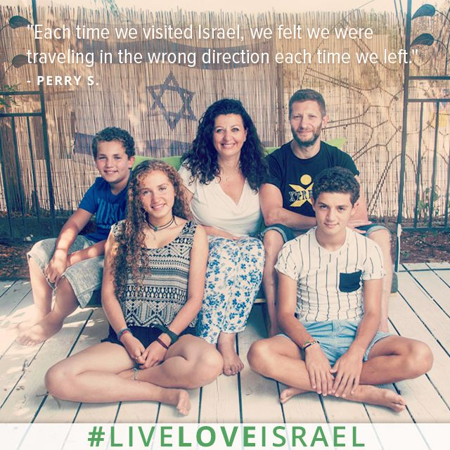 """This past summer, Perry and Jo Sugarman made Aliyah with their three kids from a village outside of London. """"When Jo and I got married in 1996, we talked about making Aliyah and raising a family in Israel, but then life, work and kids got in the way,"""" Perry says. """"Making Aliyah with teenagers isn't an easy task, so we know our settling in period may take a little longer. But we are confident that we have a fantastic life to look forward to in our beautiful country."""" #LiveLoveIsrael"""