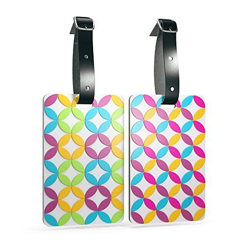 Shacke Luggage Tags with Genuine Leather Strap - Set of 2 (Seeing Stars)