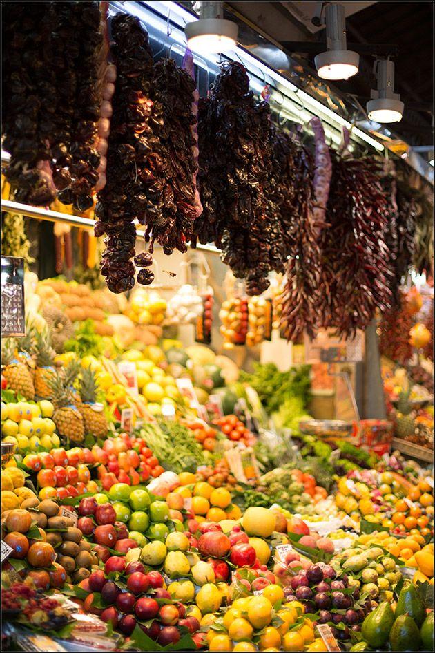 Barcelona food market – the Mercado de la Boqueria at Las Ramblas - Barcelona, Spain