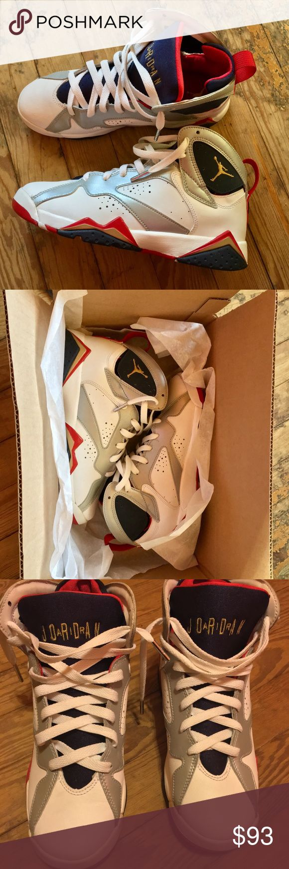 """🤩NIKE AIR JORDAN RETRO 7 OLYMPIC  (2012  RELEASE) These shoes are fitted in Grade School Youth size 6.5 they're unisex shoes for boys and girls. These shoes are in great condition; however there is """"slight"""" cracking around the inner lower part of the shoes; nothing major. (the cracking is only noticeable up """"really"""" close) due to white shoe polish that was applied to them. The overall structure of the shoes are in excellent condition; there is no sole seperation, creasing etc.  Condition…"""