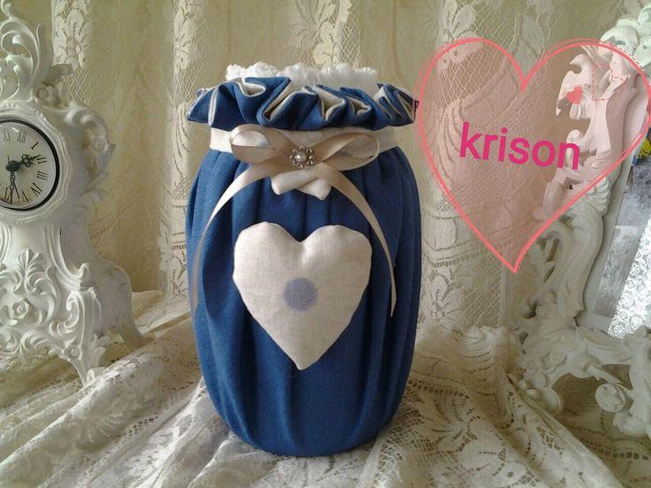 Porta mestoli in vetro rivestito in tessuto stile moderno, shabby., by krison, 15,00 € su misshobby.com