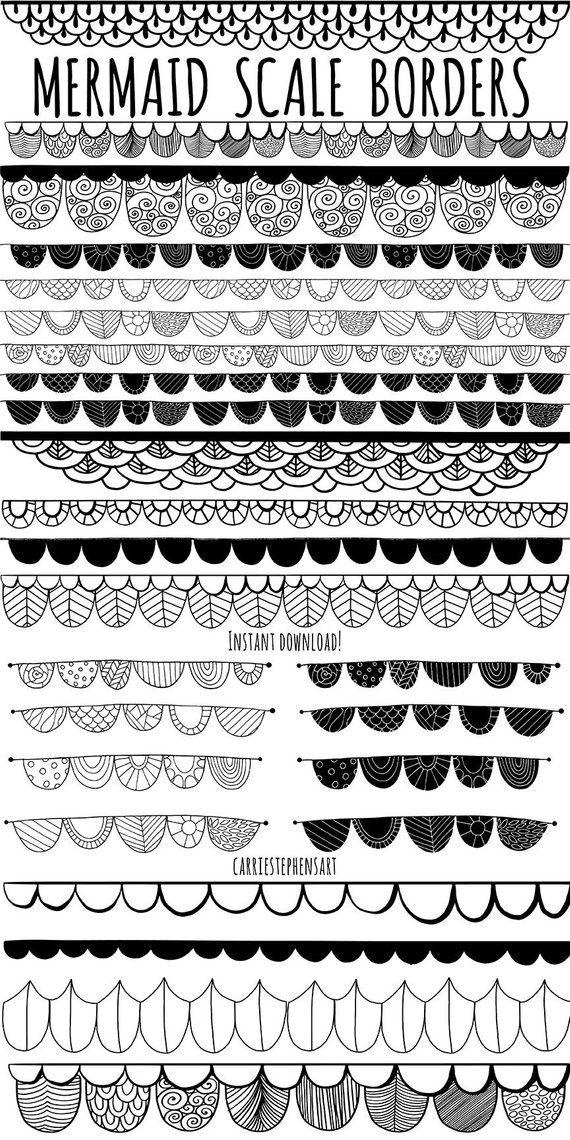 Mermaid Clipart Borders Mermaid Scales Girls Lace Border Doodle