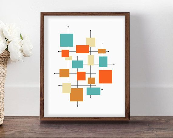 Mid Century Modern Art, Retro Decor Ideas, Mid Century Wall Art, Midcentury  Modern