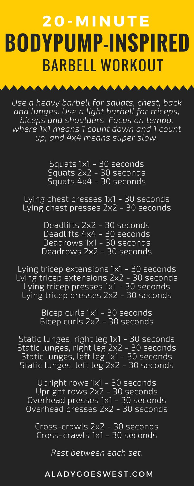 Bodypump-inspired barbell workout via A Lady Goes West