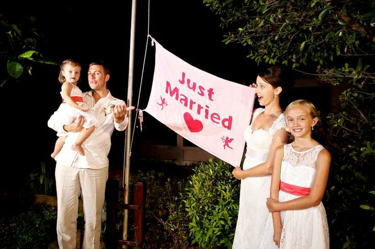 Raising the just married flag - get the family involved! Faraway Beach weddings Thailand