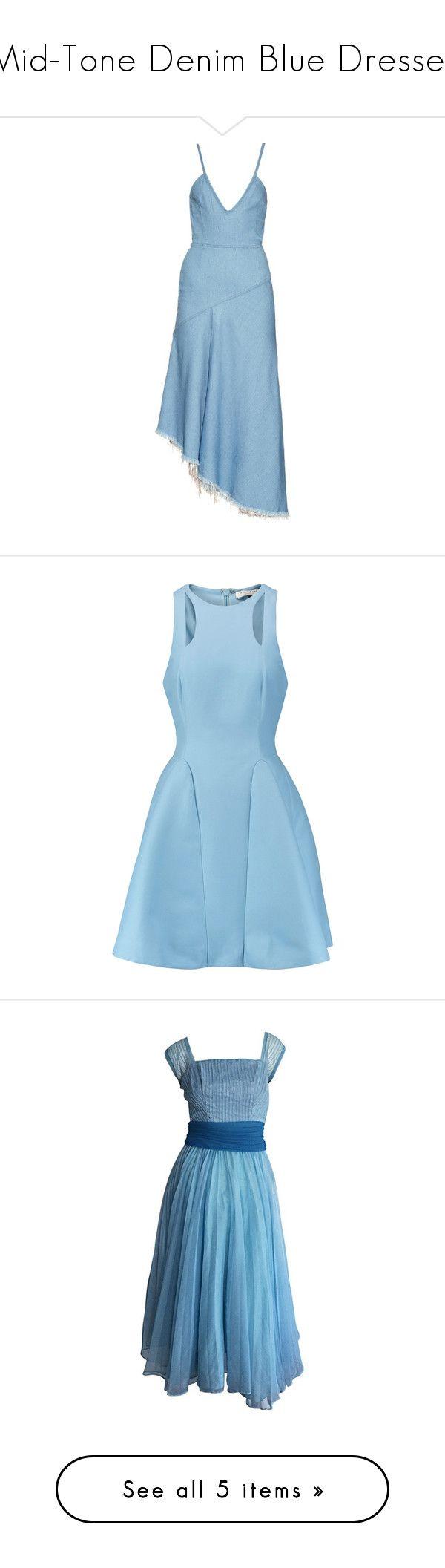 """Mid-Tone Denim Blue Dresses"" by tegan-b-riley on Polyvore featuring dresses, blue denim dress, plunge-neck dresses, asymmetric midi dress, blue asymmetrical dress, mid calf dresses, sky blue, blue dress, blue skater skirt and circle skirts"
