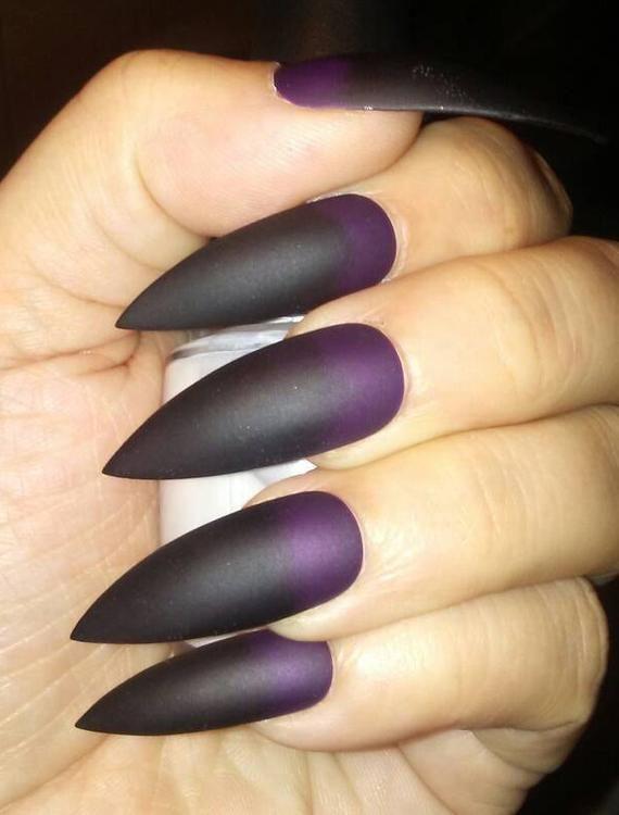 Matte Black Purple Stiletto Nails Gothic Press On Nails Etsy Purple Stiletto Nails Black And Purple Nails Stiletto Nails