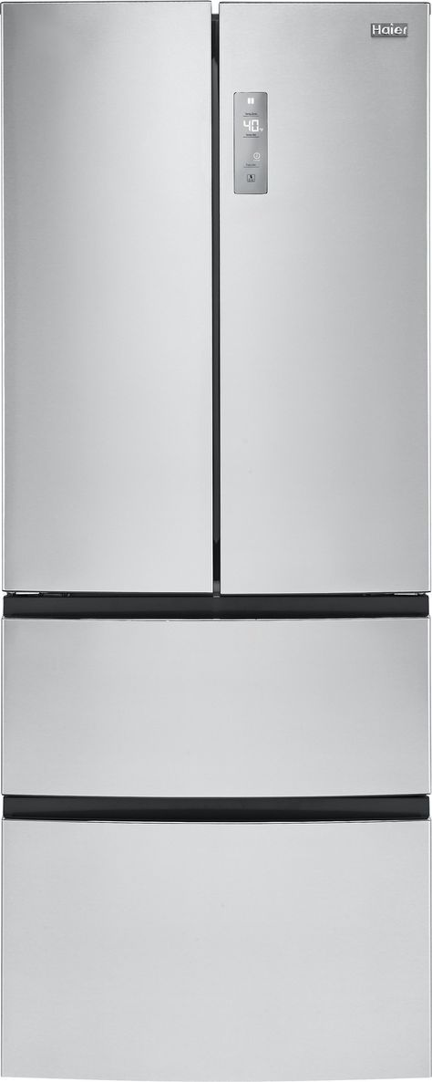 Haier HRF15N3AGS 28 Inch Counter Depth French Door Refrigerator with 14.9 cu. ft. Capacity, 2 Adjustable Tempered Glass Shelves, 6 Door Bins, Cool Zone Drawer, Double Freezer Drawers, Quick Cool, Quick Freeze and LED Lighting