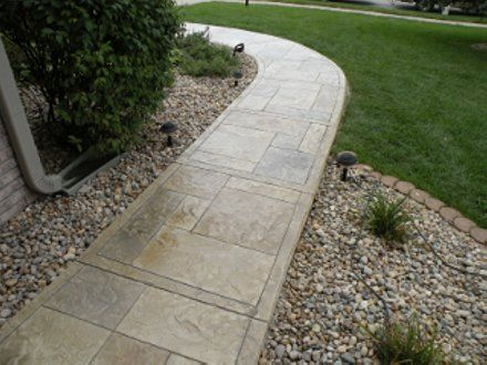 Stamped Concrete Overlay On Sidewalk With Ashlar Slate Pattern, Beige And  Gray Concrete Stains For