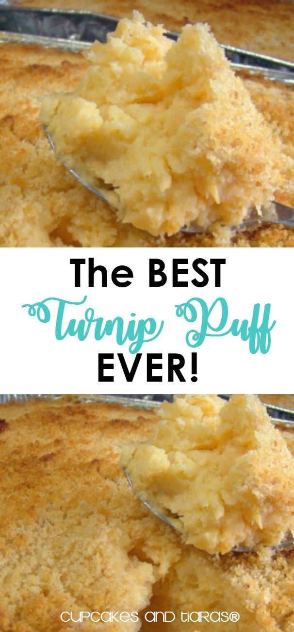 The BEST Turnip PUFF EVER!  Eggs, brown sugar and butter make turnips go from blah to amazing! Perfect side for turkey dinner.