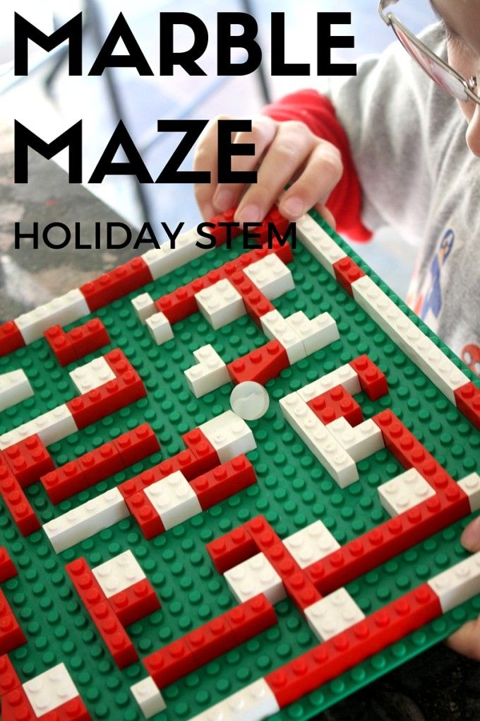 LEGO Christmas Marble Maze STEAM Christmas Countdown. Holiday STEM activity. LEGO activity for kids. A marble maze is good for visual processing skills, fine motor skills, and motor planning skills.