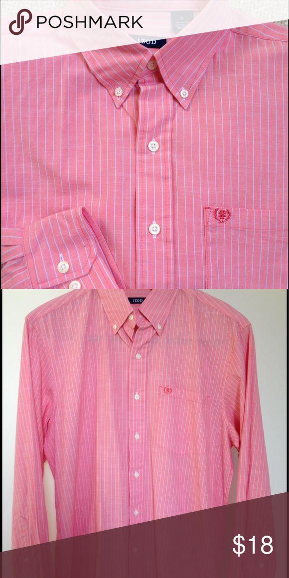 IZOD Men's Oxford Shirt IZOD bottom down pinstripe 100% cotton shirt. Pink with white stripe. Excellent condition. Izod Shirts Dress Shirts