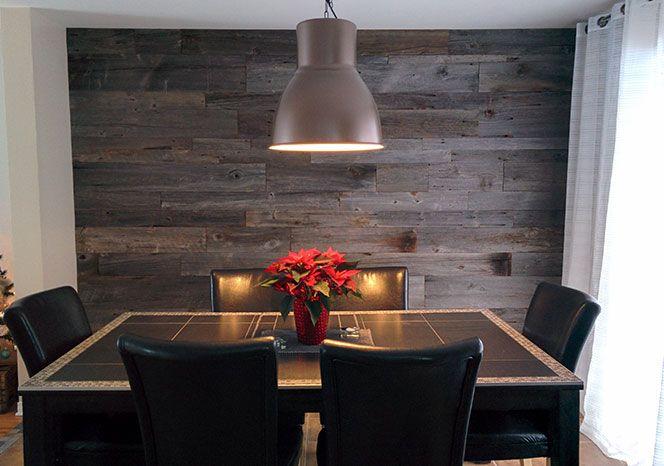 Mur en bois de grange dans une cuisine