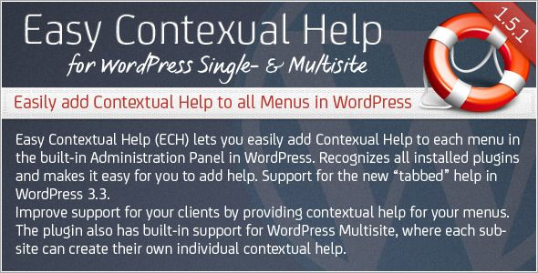 Easy Contextual Help for WordPress   http://codecanyon.net/item/easy-contextual-help-for-wordpress/132014?ref=damiamio       Are you a WordPress developer or a Web Designer who uses WordPress to develop websites for your clients?  	 Have you ever wished that there was an easy way to add your own help to each menu or plugin in the built-in Administration Panel in WordPress? Look no further, with Easy Contextual Help for WordPress you can now improve support for your clients by providing…