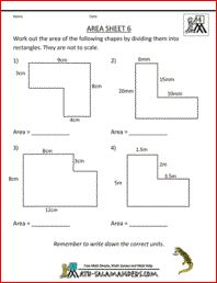 Area Sheet 6, a math area worksheet on the area of compound rectilinear shapes