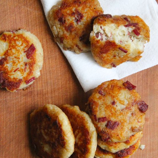 Irish Potato and Corned Beef Cakes: This meaty version of Irish Boxty, classic potato pancakes, is the perfect use for leftover corned beef.