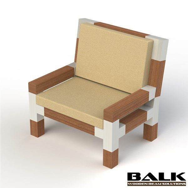 DIY design chair made with BALK connectors / couplings / joints / fittings / corner pieces for wooden beams.