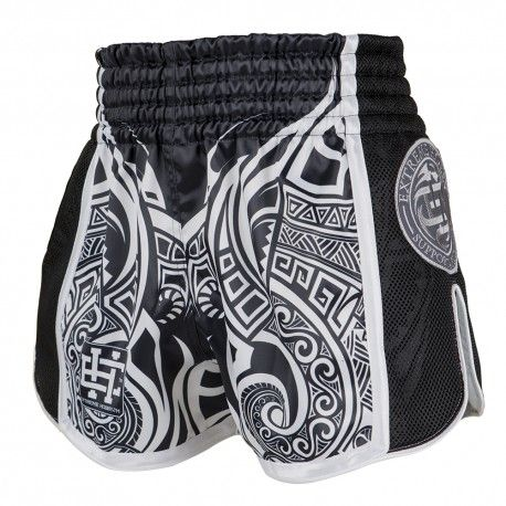 Muay thai shorts MOKO. Color: black and white. Muay Thai Shorts MOKO Shorts designed from the highest quality materials, durable and functional. Advanced technology that drains moisture and regulates optimal body temperature. Stretch-resistant, resistant to deformation, does not impede movement. Pleasant to the touch do not absorb moisture and do not lose color due to UV radiation.