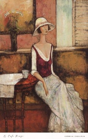 Le Caf Rouge by Ludmila Curilova art print