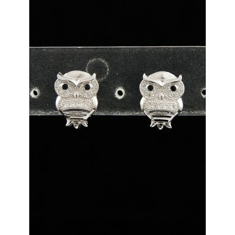 Sterling silver ear studs Owls, decorated with CZ, plated with rhodium