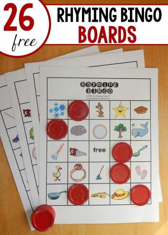 Looking for a fun rhyming game for kindergarten?  Try Rhyming Bingo!  26 FREE boards!