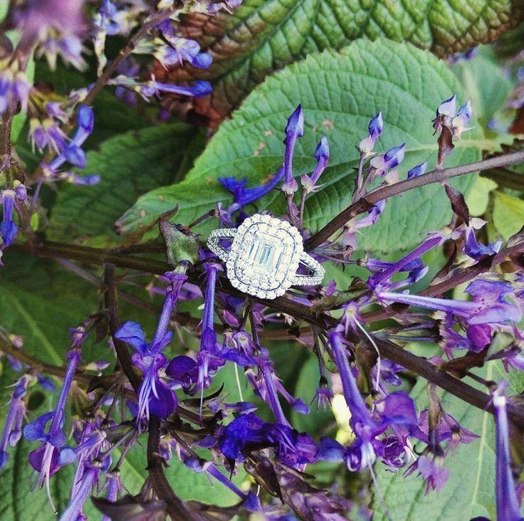 Emerald Cut Diamond / Double Halo of Round Brilliants www.diamonds.co.nz