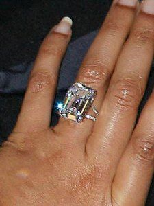 While their engagement and subsequent marriage was kept super secret, there's certainly no hiding Beyoncé's viewable from outer space engagement ring. This Lorraine Schwartz designed celebrity engagement ring has a whopping 18 carat colorless diamond (flawless, no less) with an estimated value of $5 million dollars.