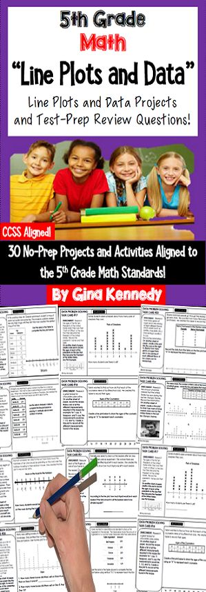 No-prep, 5th grade line plots and data math practice with 30 enrichment projects and 30 review test-prep questions aligned to the 5th grade math standards. A great way to teach the data standards in a fun, engaging way. Perfect for early finishers, advanced math students or whole class practice. Print and go math enrichment! $