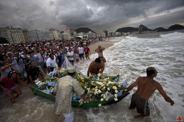 In Brazil on New Year's Eve priestesses of the local