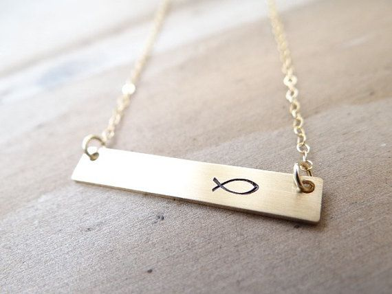 Icthus Gold Bar Necklace. Hand Stamped Jewelry. Minimalist, Engraved Necklace. Layering Necklace, Simple Gold Jewelry, Icthys, Jesus Fish