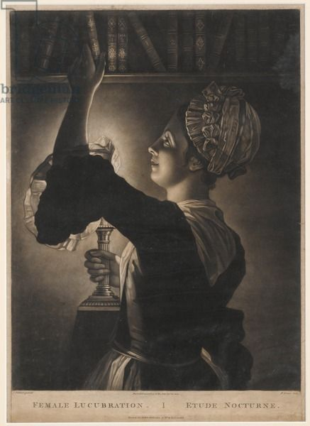 Female Lucubration, print made by Philip Dawe, 1772 (mezzotint)