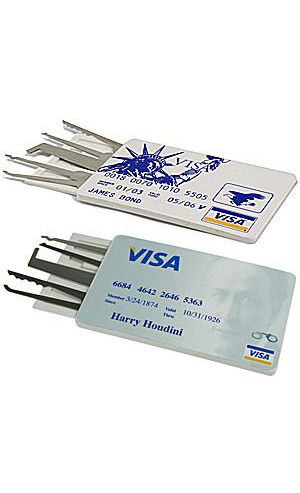 Ehdching 5pcs Statue of Liberty Credit Card EDC Everyday Carry Lock Pick Set