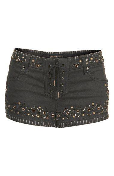 { Studded Denim Shorts }