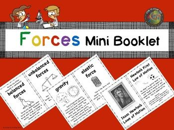 This black and white mini booklet was made to go with our Forces and Motion Posters.  This makes a good supplement for many Next Generation Science lessons.   Each page has a short definition of a type of force along with a graphic to aid in student understanding.