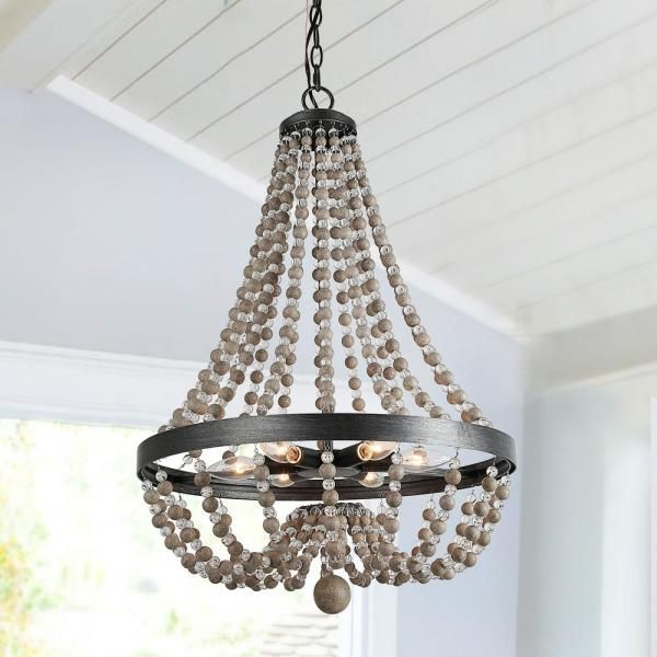 Lnc 6 Light Wood Beaded 20 In Matt Black Empire Bohemian Chandelier With Modern Industrial Metal Ring Frame Ceiling Lamp A03403 The Home Depot In 2020 Wood Bead Chandelier Beaded Chandelier Beach Style Chandeliers