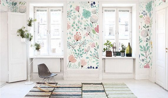 4 couleursaquarelle fleurs fond frais printemps par DreamyWall